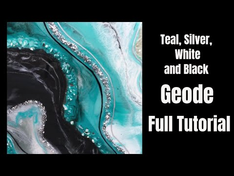 """Geode Resin Pour """"Iceland"""" \\ Crystal Quartz and Glass \\ Full Tutorial \\ Stone Coat Counter Resin"""
