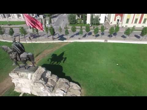 Albania from air , skanderbeg square tirana albania