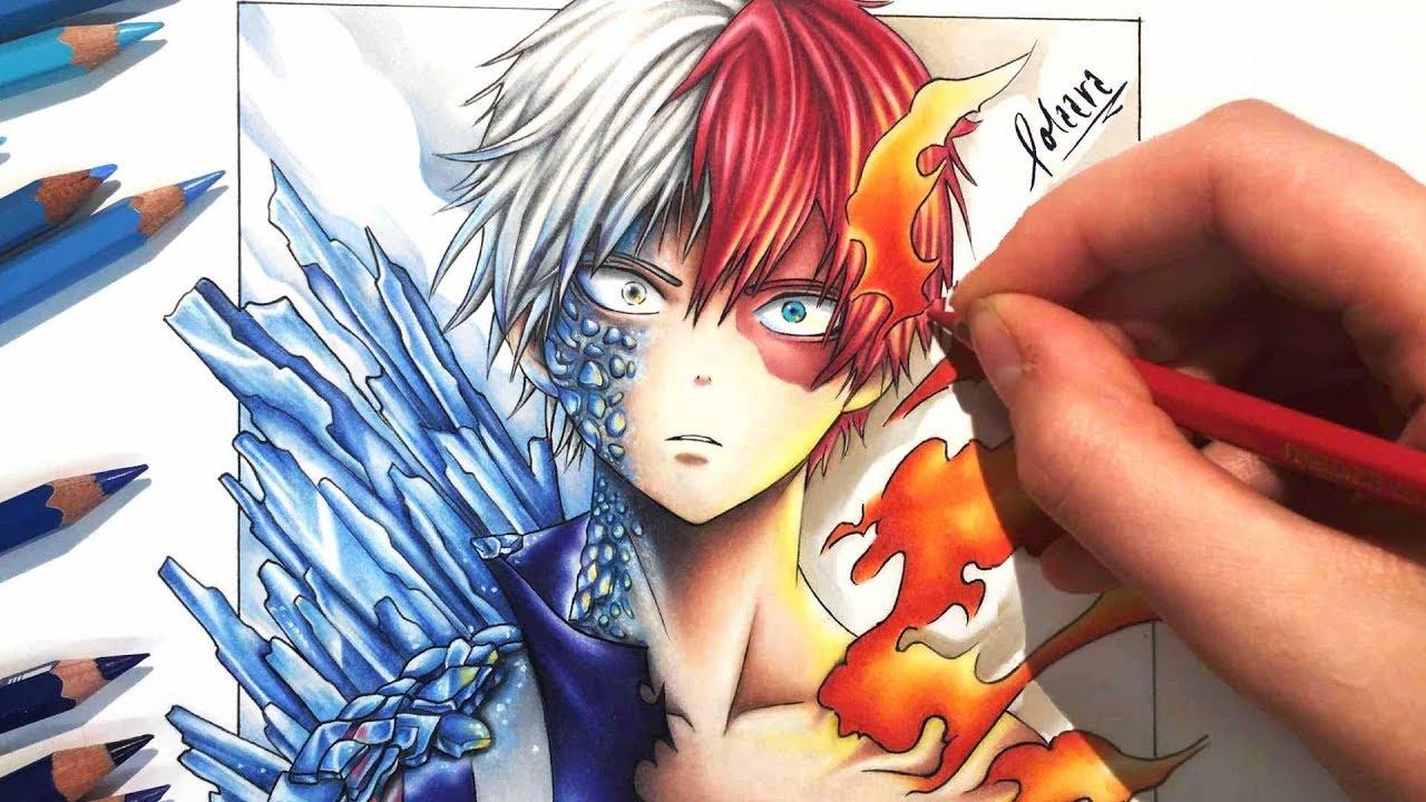 Drawing Shoto Todoroki From My Hero Academia Using Color Pencils