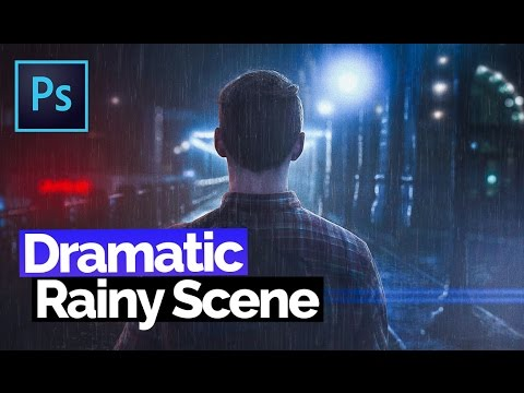 How To Turn Boring Images Into Dramatic Rainy Scene | Photo Manipulation Retouch, Photoshop Tutorial