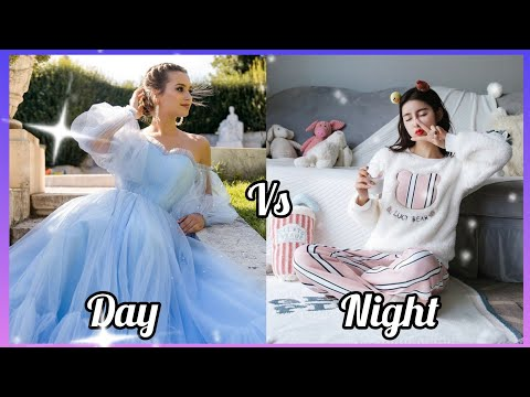 Day ☀️vs night/gown/night outfit/heels/hair/slippers/shoes/makeup/bedroom#cutegirl