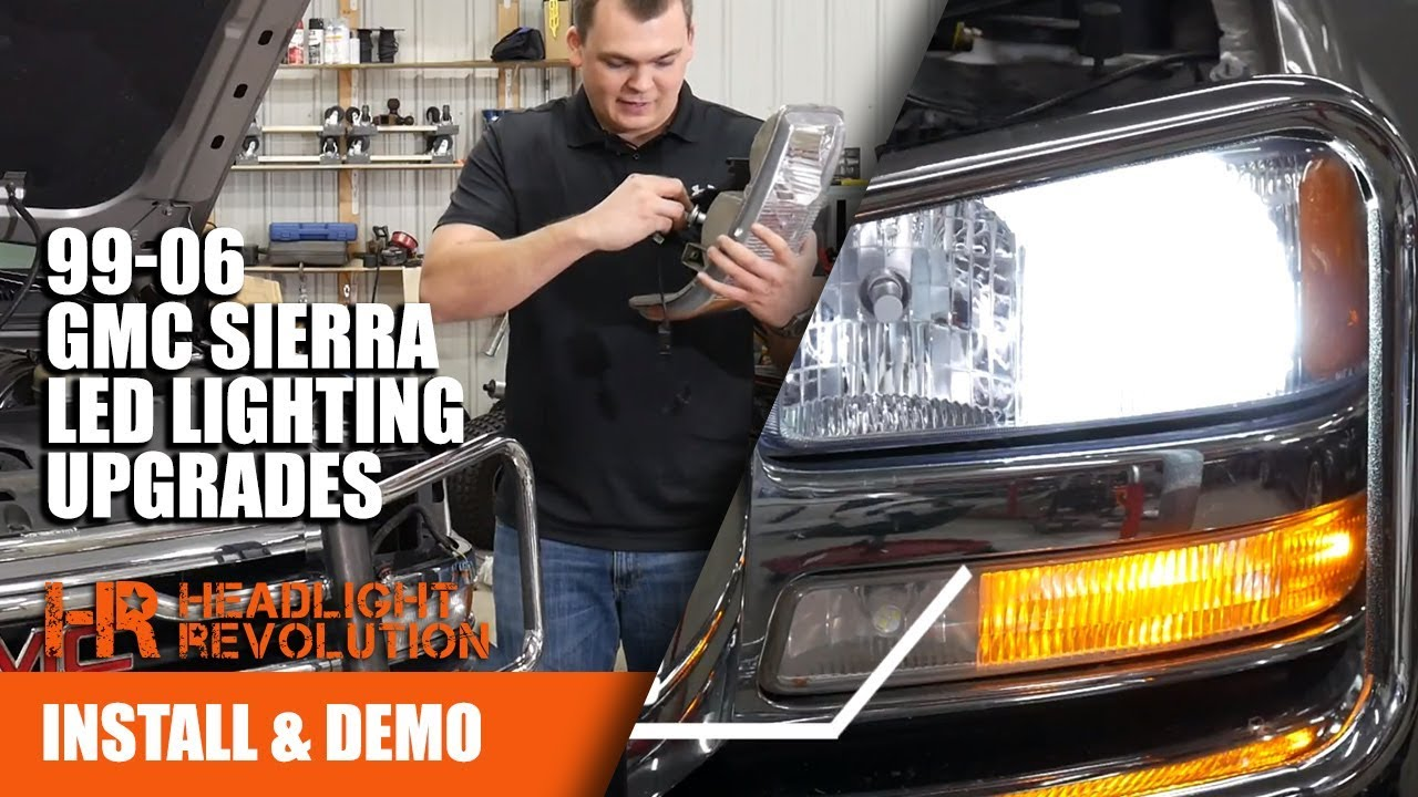 small resolution of 1999 2006 gmc sierra led lighting upgrades led headlight bulbs gtr lighting drl and blinkers