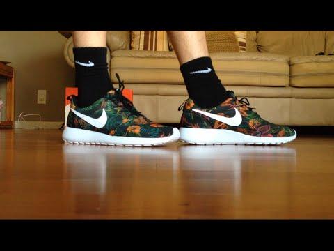 "online retailer b30ea cd5c9 Nike Roshe Run Print ""Total Orange Floral"" On Feet - YouTube"