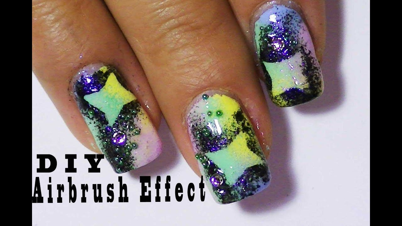Airbrush Effect Nail Design Using Nail Polish,Colorful Fun ...