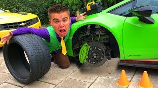 Mr. Joe on Lamborghini Huracan without Wheels & found Wheels in Tire Service for Children