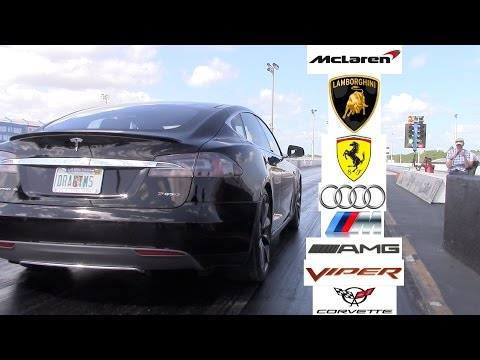 Tesla Model S P85D P85 Racing the World 0-60 MPH (Ferrari, Lamborghini, Audi, Viper, Vette, AMG, M)