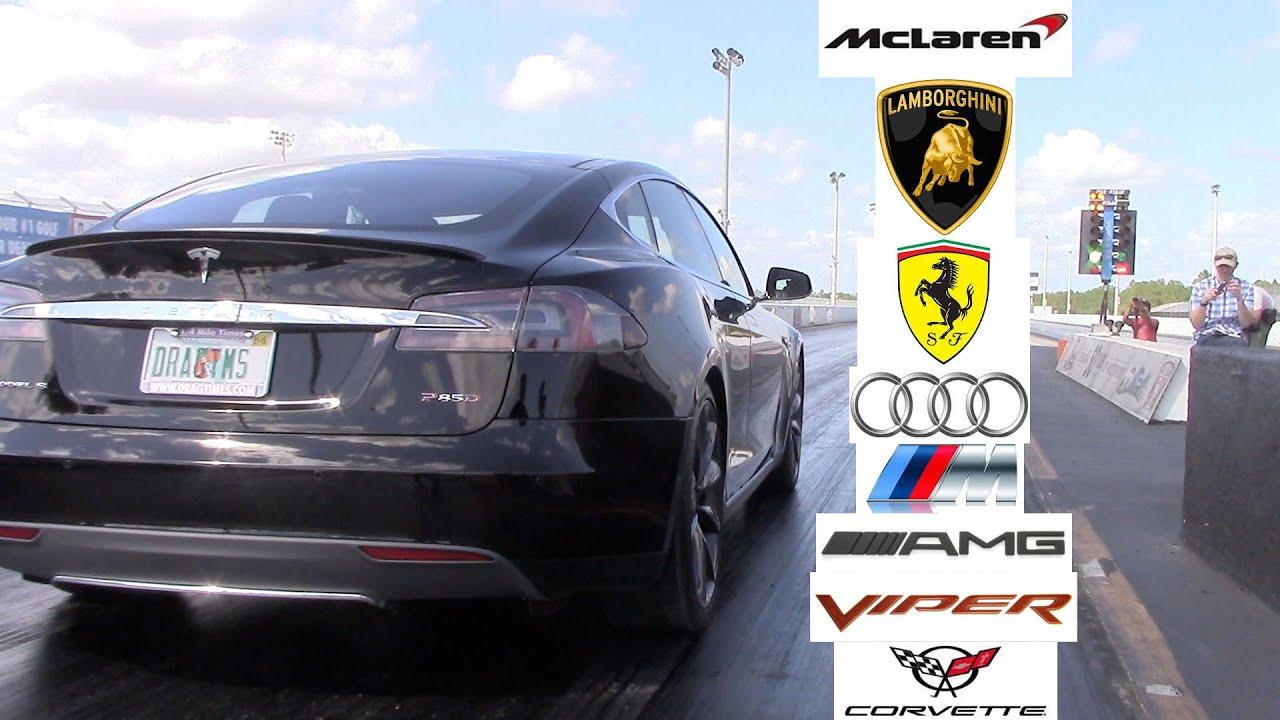 Tesla Model S P85d P85 Racing The World 0 60 Mph Ferrari Lamborghini Audi Viper Vette Amg M