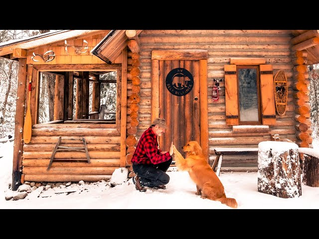 First Snow at the Off Grid Log Cabin | Winter 2019