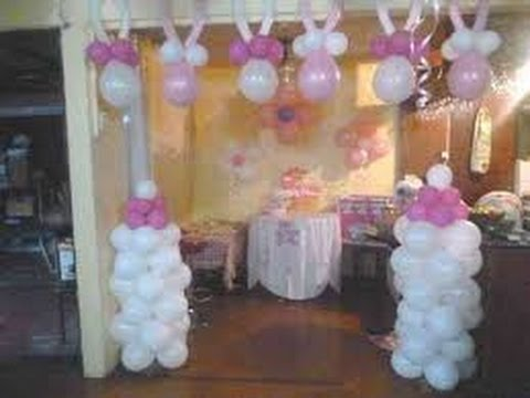 Decoraci n con globos para baby shower youtube for Decoracion casa shower