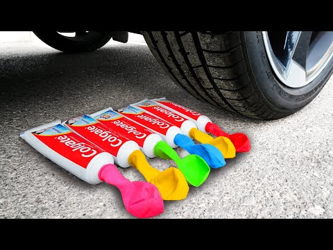 crushing-crunchy-&-soft-things-by-car!-experiment:-car-vs-balloons-toothpaste,-fanta-&-toys