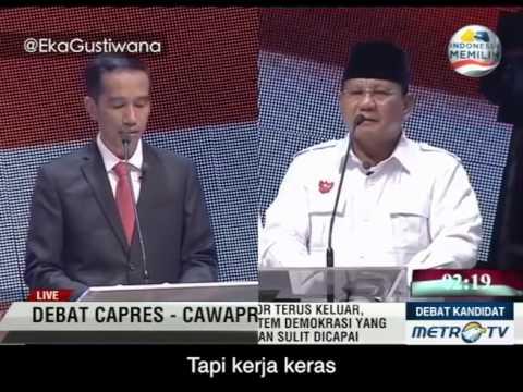 Prabowo Hatta dan Jokowi JK Nyanyi Bareng di Debat Capres