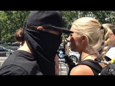 Lauren Southern Assaulted By Masked Protester Anti Sharia Law March