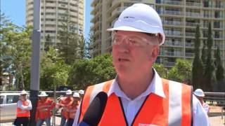 100% track laid for Gold Coast light rail Stage one - Nine News coverage