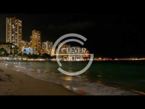 Illuminated Buildings Sea Coastline Footage Travel Honolulu Waikiki Beach Vacation Tourism Hawaii