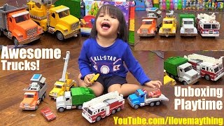 Toy Channel: Disney Cars and Toy Trucks. Fire Engine, Garbage Truck, Dump Truck and Tow Truck