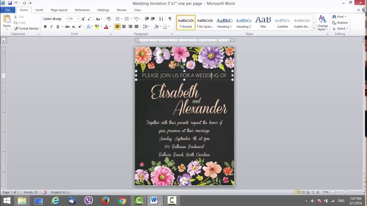 Wedding Invitation Template For Ms Word Youtube
