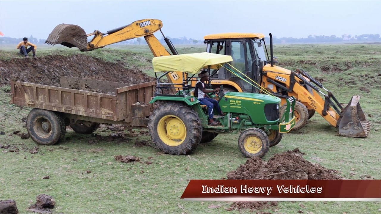 JCB 3dx Xtra Loading Two John Deere Tractor's Trolley 5042 D & 5045 D ( Dual Clutch ) On Same Place.