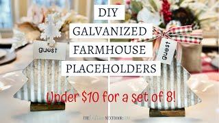 DIY Galvanized Christmas Farmhouse Placeholders  - Winter DIY Under $10