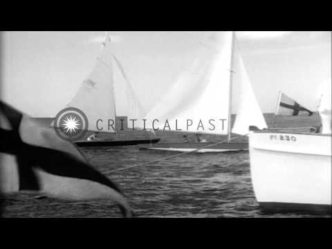 Regatta of small two-handed sloops,in Florida. Motor boat with Florida registrati...HD Stock Footage