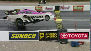 When a NHRA Funny Car crosses the line Airborne !!
