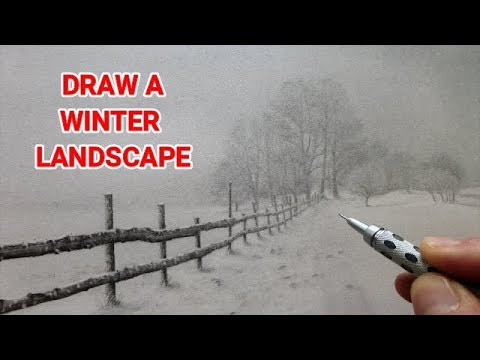 how-to-draw-a-winter-landscape-with-snow-&-misty-trees,-beginners-graphite-tutorial