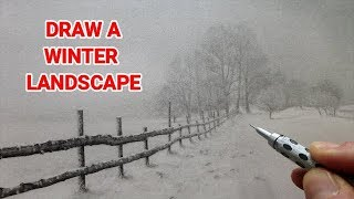 How To Draw a Winter Landscape With Snow & Misty Trees, Beginners Graphite Tutorial