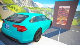 High Speed Jumping through Laser Wall Crashes - BeamNG drive