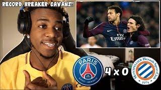 PSG 4 x 0 MONTPELLIER - CAVANI'S RECORD BREAKING GOAL - All Goals & Highlights (27/01/18) | Reaction