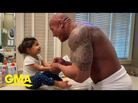 Dwayne Johnson Sings 'You're Welcome' While Washing Hands With Daughter