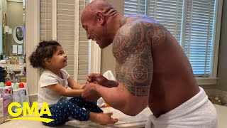 Dwayne Johnson sings You're Welcome while washing hands with daughter YouTube Videos