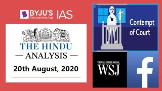 'The Hindu' Analysis for 20th August, 2020. (Current Affairs for UPSC/IAS)