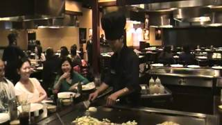 Victor Hibachi Intro - Cooking Fried Rice & Onion Volcano Trick