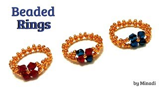 beaded rings. jewelry making. beading tutorial