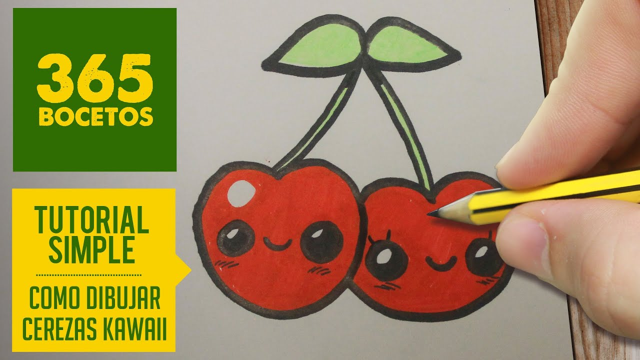 Como dibujar una cereza kawaii paso a paso dibujos for Como hacer comida facil