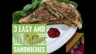3 Classic Sandwiches Recipes - Veg sandwich, Egg n mayo sandwich & Corn n Spinach sandwich