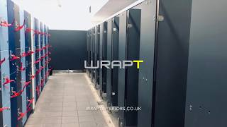 Architectural Vinyl Wrap leisure centre changing cubicles and lockers, Architectural Films by WRAPT