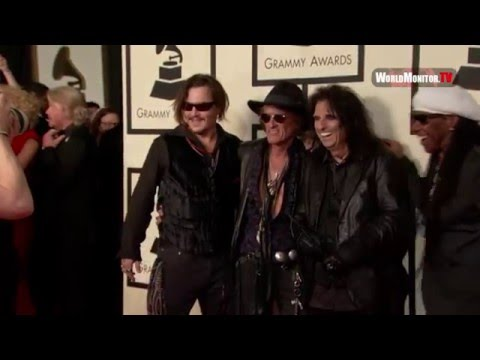 Johnny Depp, Alice Cooper, Joe Perry at 58th Annual Grammy Awards Red carpet