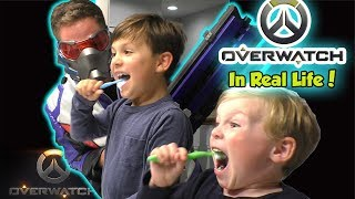 Overwatch in Real Life - Night Bedtime Routine for Kids with Soldier 76    DavidsTV