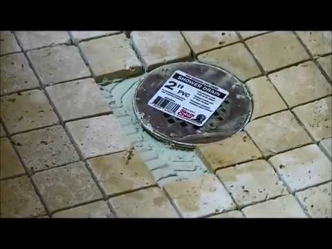 how to tile shower floor part two circular cuts around drain youtube