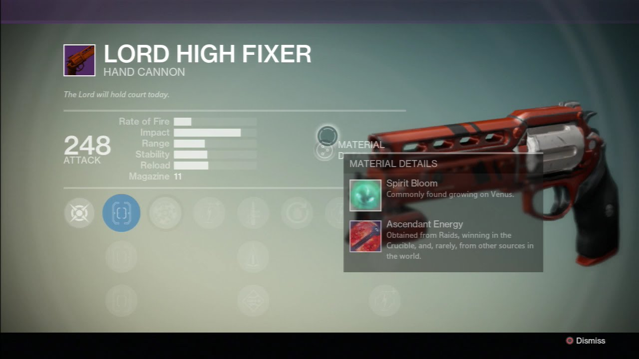 Destiny legendary weapon lord high fixer hand cannon kg youtube