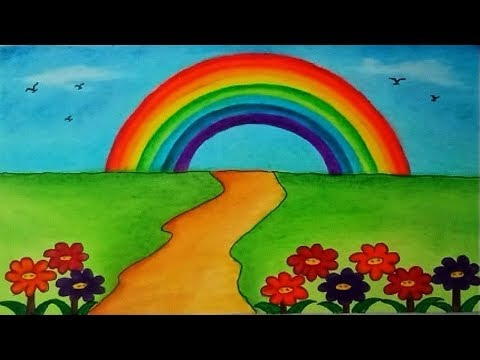 how-to-draw-garden-scenery-with-rainbow-||-beautiful-garden-drawing