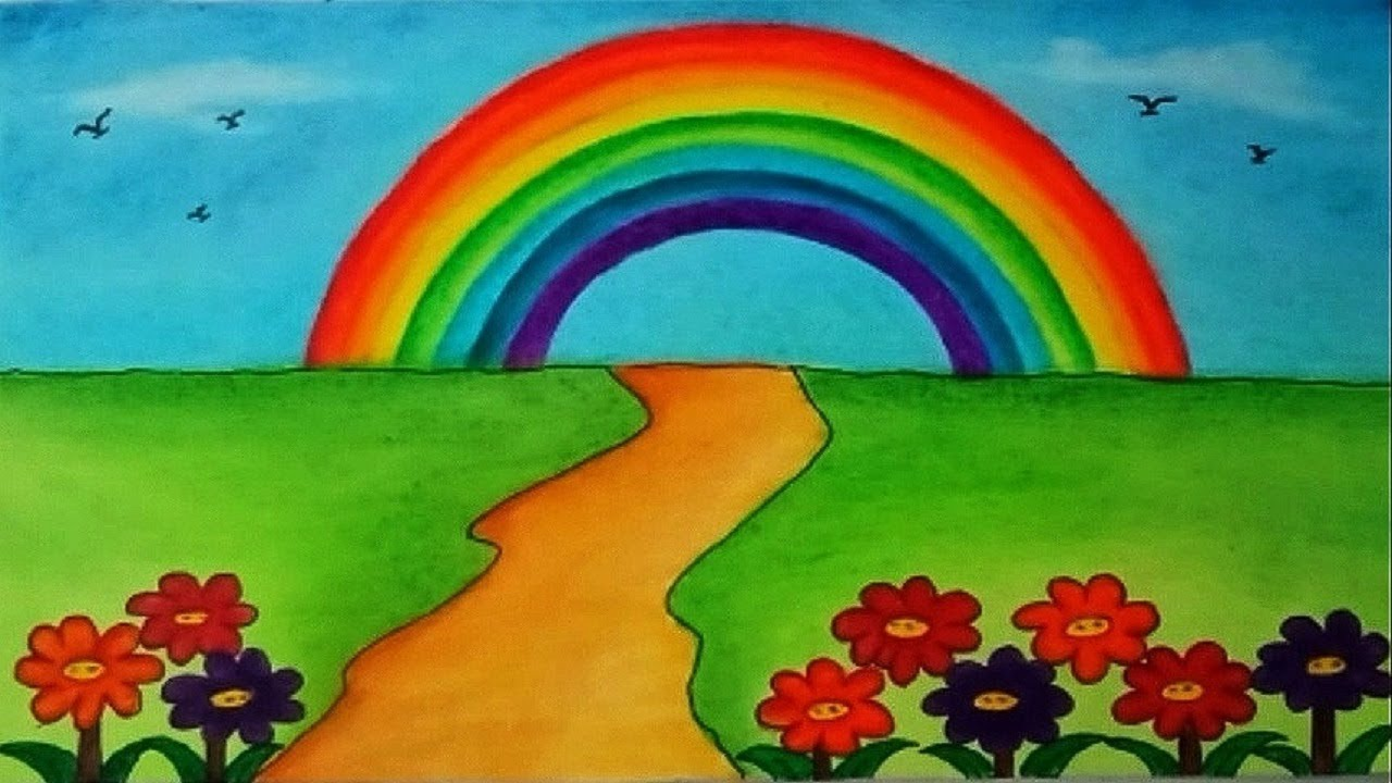 How To Draw Garden Scenery With Rainbow Beautiful Garden Drawing Youtube