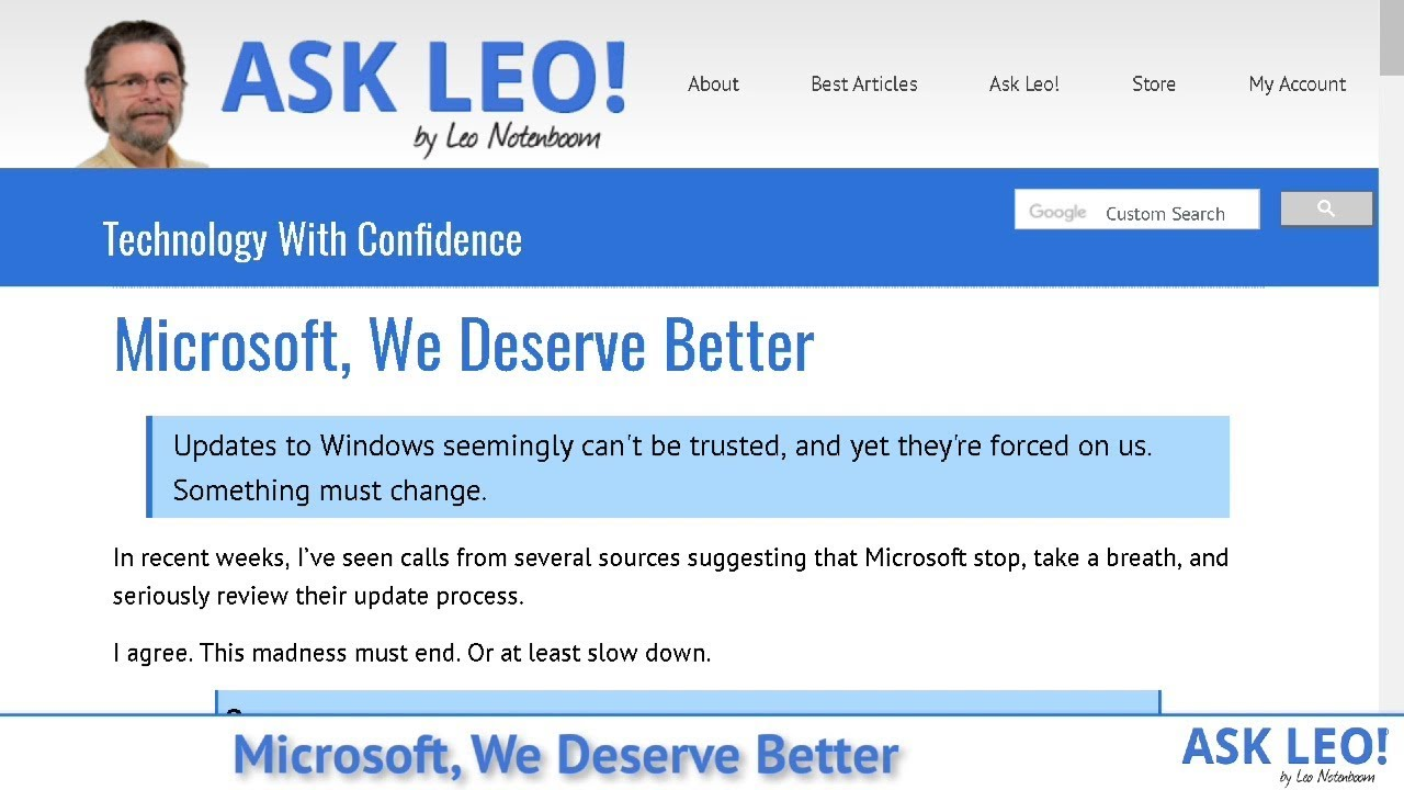 Microsoft, We Deserve Better - Ask Leo!