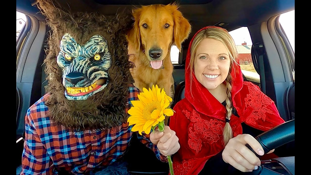 Wolf Surprises Little Red Riding Hood & Puppy with Car Ride Chase!