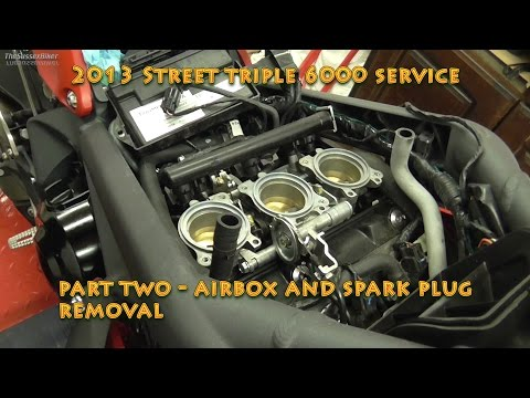 2013 Street Triple R 6000 service Part Two- Air Box and Spark Plug Removal