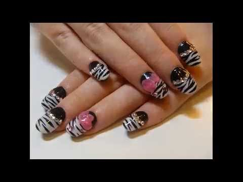 Decorar Uñas de Gel con Pintura y Esmalte - YouTube