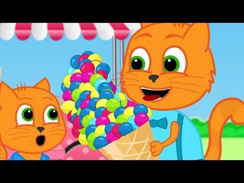 familia-de-gatos---gran-helado-dibujos-animados-para-niños