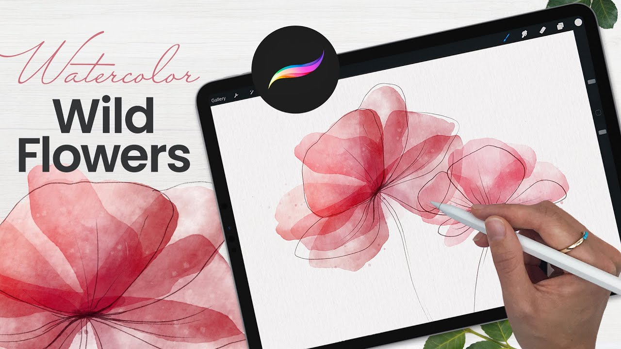 How To Draw Watercolor Flowers In Procreate