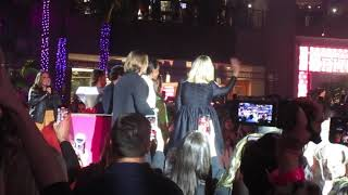 Margot Robbie joins her Birds Of Prey cast members on stage at the movie premiere in Hollywood