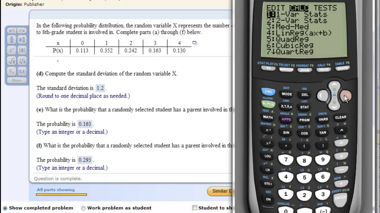 Ti Calculator  Discrete Random Variable  Probability Distribtuion
